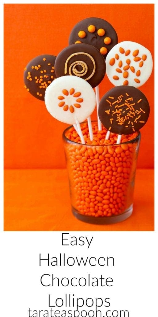 Pinterest image for Easy Halloween Chocolate Lollipops with text