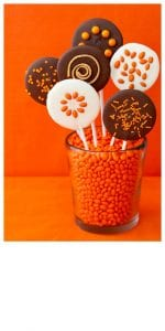 Easy Halloween Chocolate Lollipops on orange background