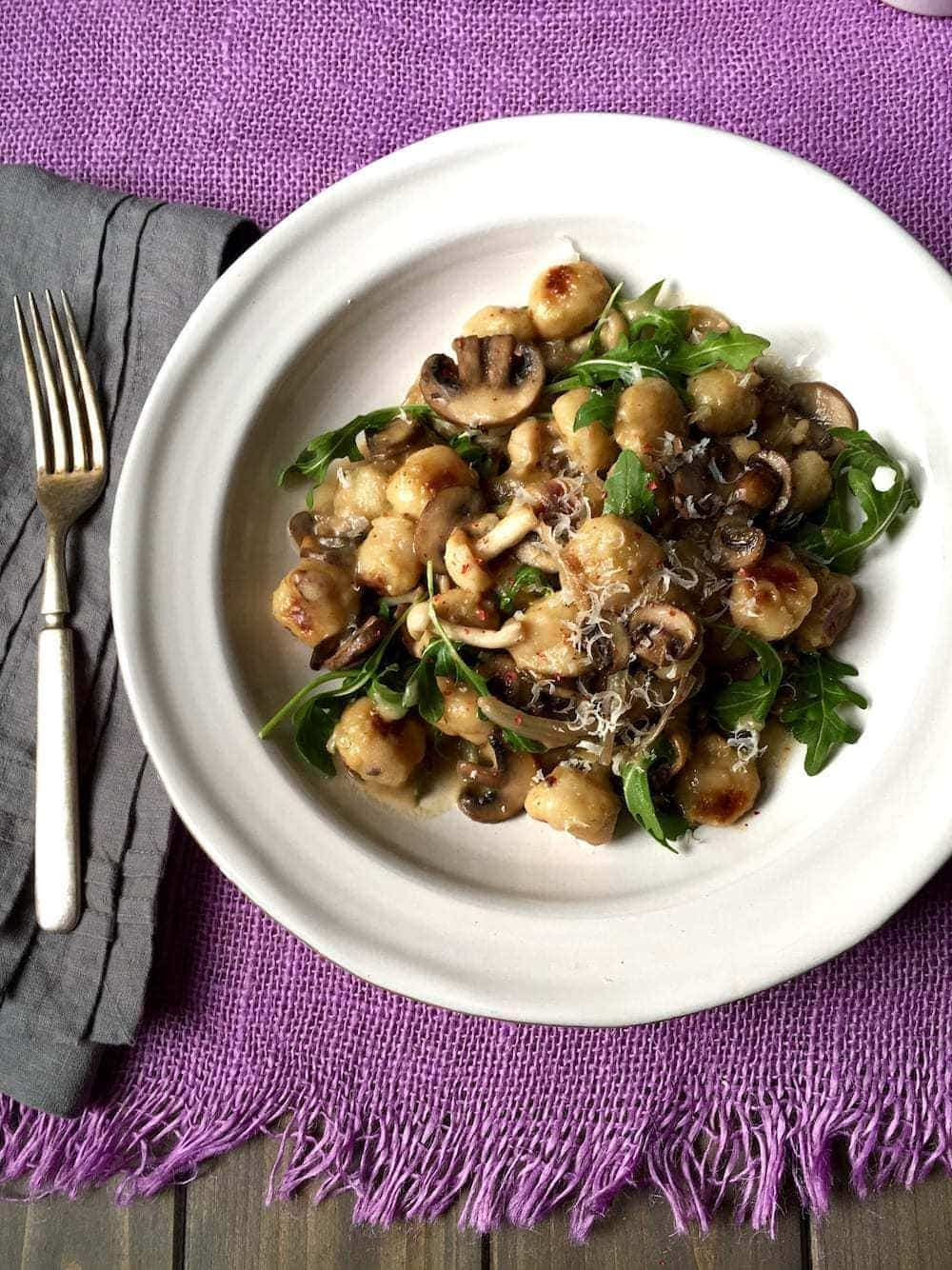 Easy Parmesan Mushroom Gnocchi is a family-pleasing meal yet tastes like a delicious date night