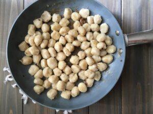 Easy Parmesan Mushroom Gnocchi in non-stick pan