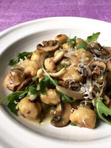 Close up of Easy Parmesan Mushroom Gnocchi