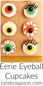 Pinterest image for Eerie Eyeball Cupcakes with text