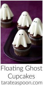 Pinterest image for Floating Ghost Cupcakes with text