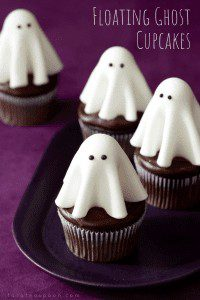Floating Ghost Cupcakes are easy to make with fondant and lollipops