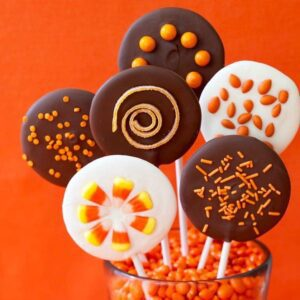 Halloween Chocolate lollipops with candy spinrkles on sticks