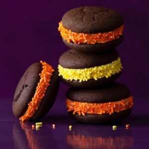 Whoopie Pies for Halloween on purple background