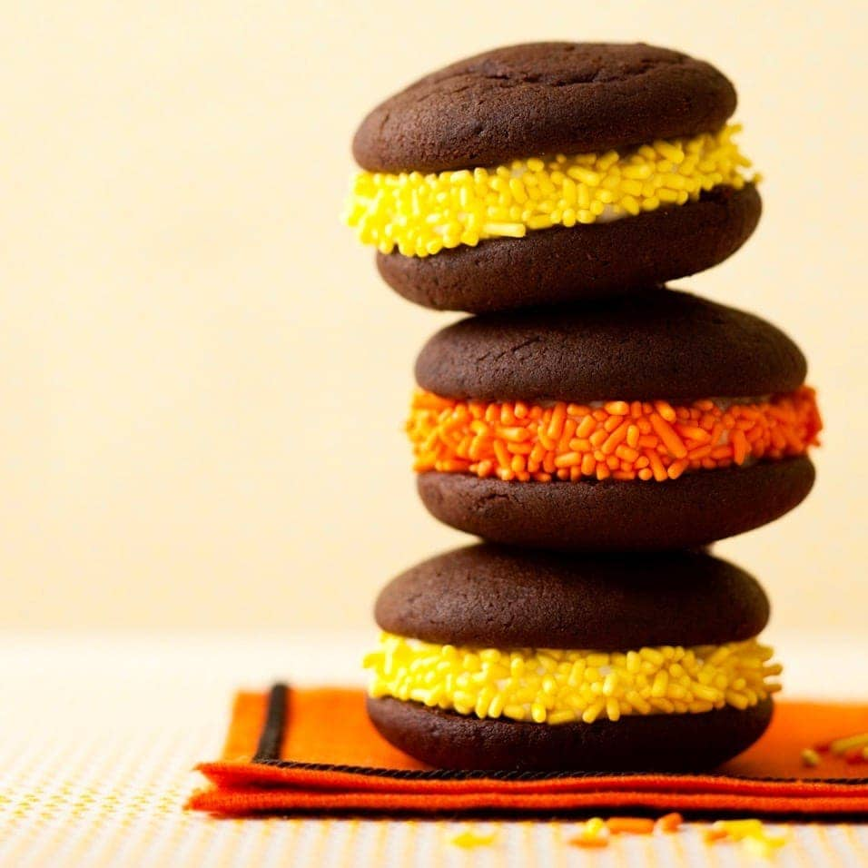 Whoopie Pies for Halloween on yellow background