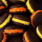 Halloween Whoopie Pies with orange yellow candy sprinkles