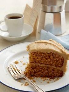 creamy caramel icing on spice cake