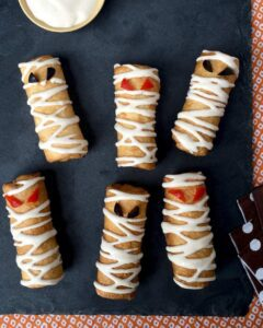 Pizza Roll Ups Mummy Snacks are a cinch to make with store-bought ingredients