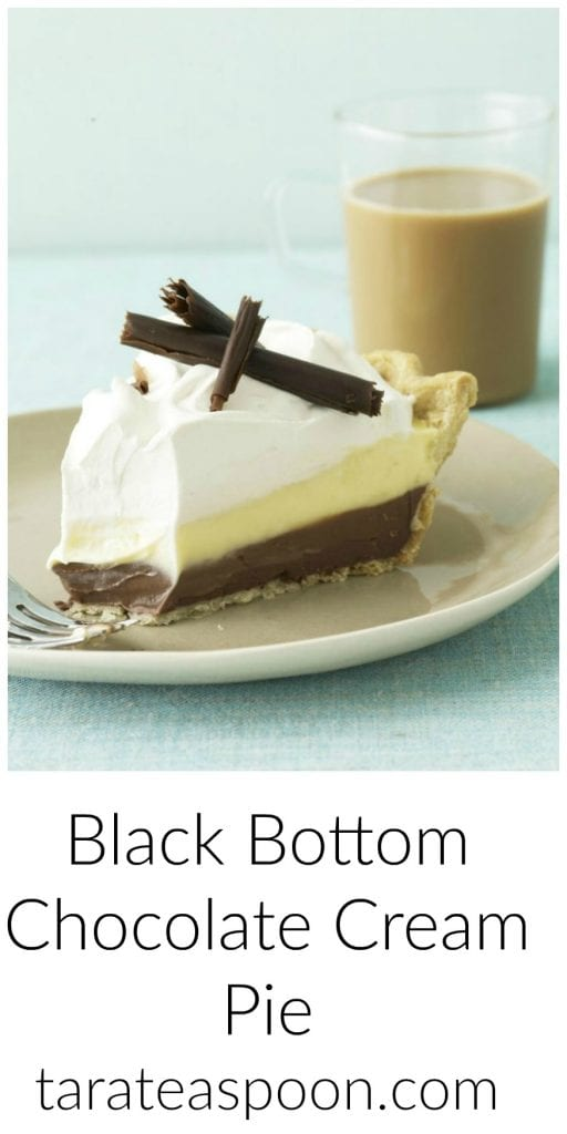 Pinterest image for Black Bottom Chocolate Cream Pie with text