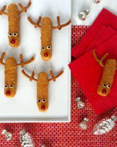 Mozzarella Stick Reindeers on white platter