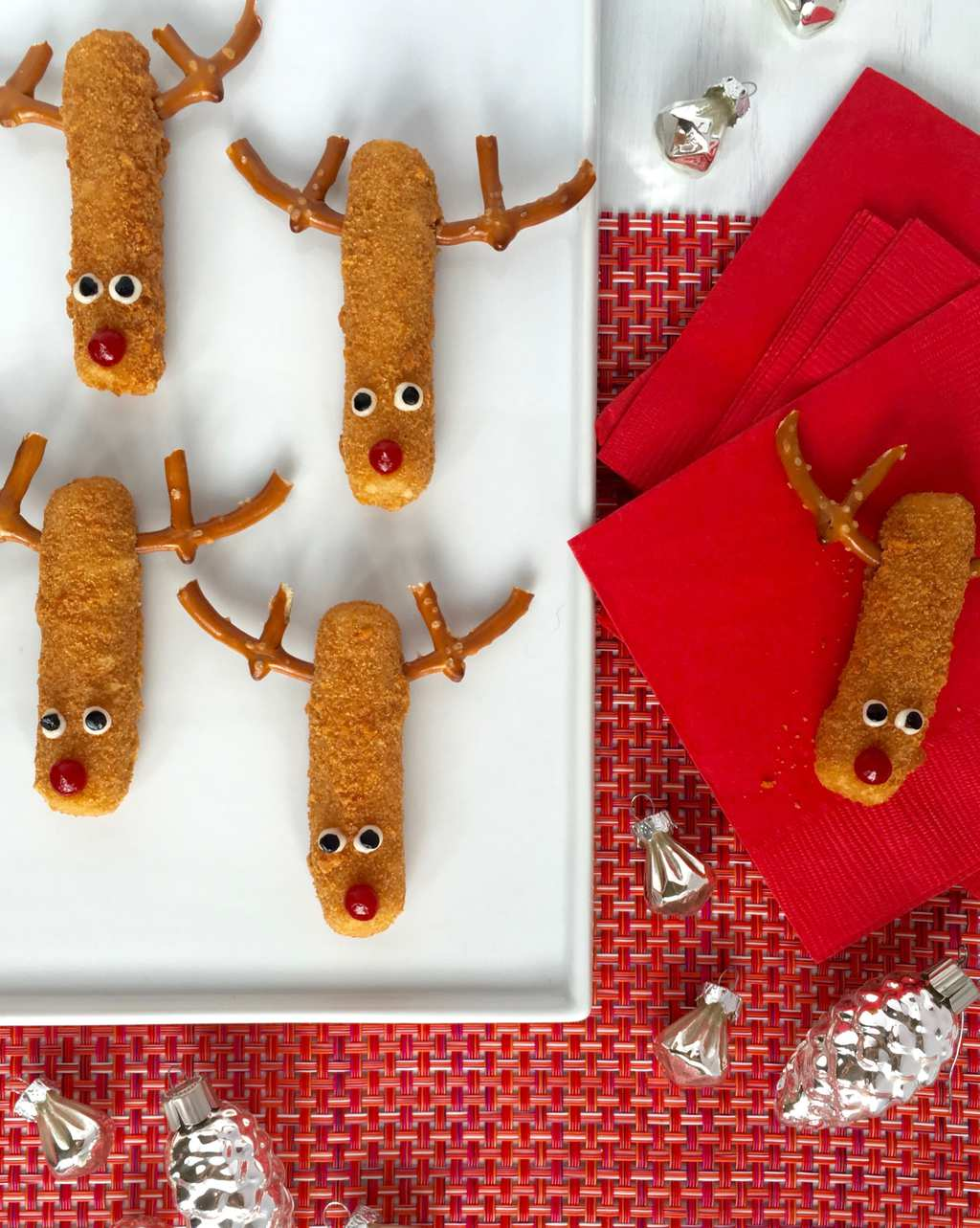 Mozzarella Stick Reindeers on white platter