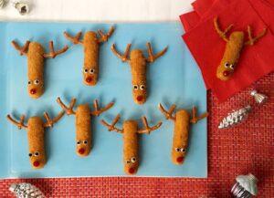 Mozzarella Stick Reindeers on blue platter