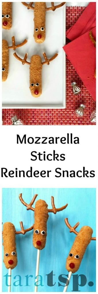 Pinterest image for Mozzarella Sticks Reindeer with text