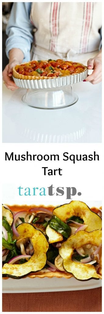 Pinterest image for Mushroom Squash Tart with text