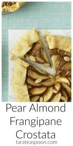 Pinterest image for Pear Almond Frangipane Crostata with tex