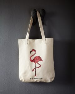 Image of flamingo canvas tote