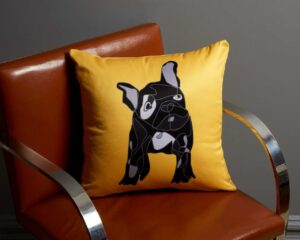 Image of a french bulldog throw pillow