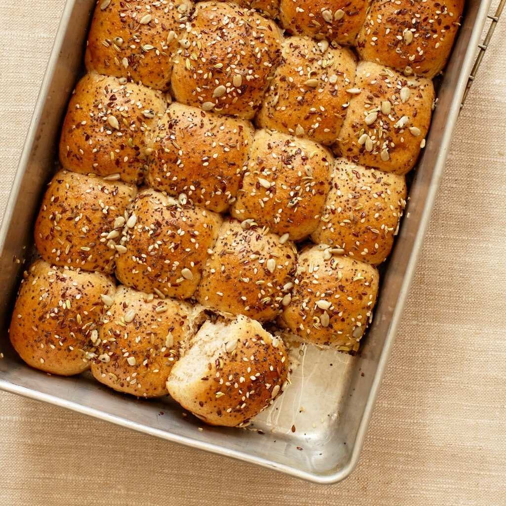 Dinner Rolls with Savory Seed Topping are the perfect accompanyment to any dinner.