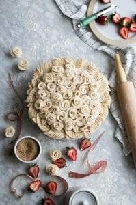 The Kitchen McCabe pastry roses fill the top of a pie