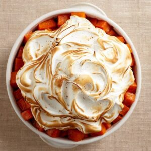 baked sweet potato cubes with cinnamon meringue feature recipe image