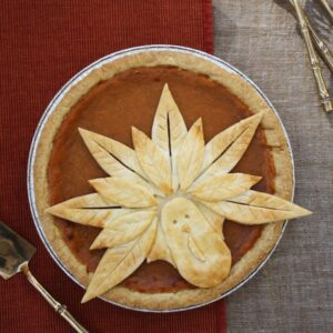 Turkey pie curst on pumpkin pie created by Tara Teaspoon