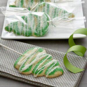 Christmas Tree Lollipop Cookies on display