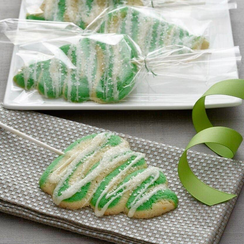 Christmas Tree Lollipop Cookies