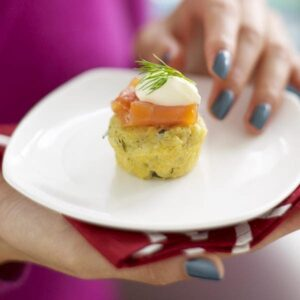 Caper-Herb Corn Muffins With Smoked Salmon