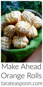 Pinterest image for Make Ahead Orange Rolls with text