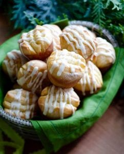 Make ahead orange rolls in basket with green napkin