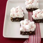 Peppermint cloud brownies with marshmallows on white platter