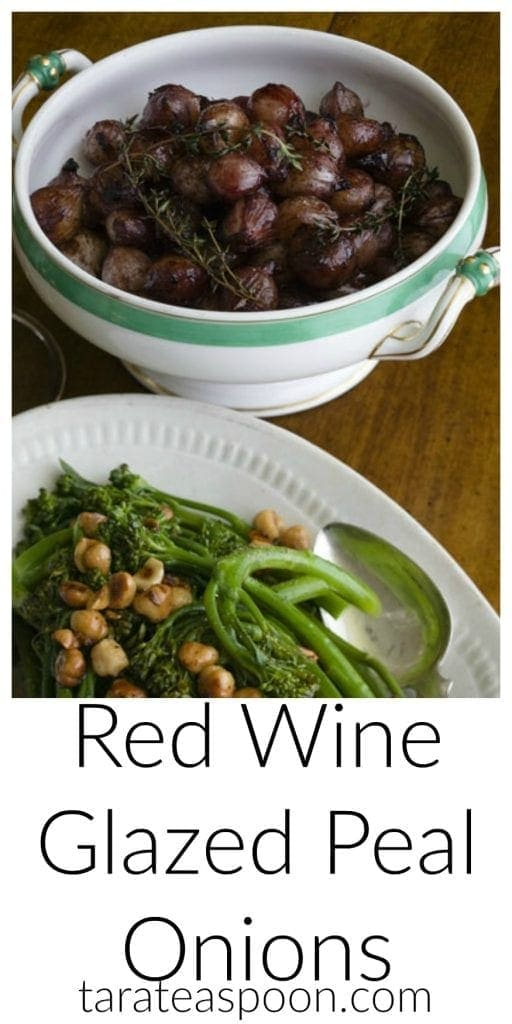 Pinterest image for Red Wine-Glazed Pearl Onions with text