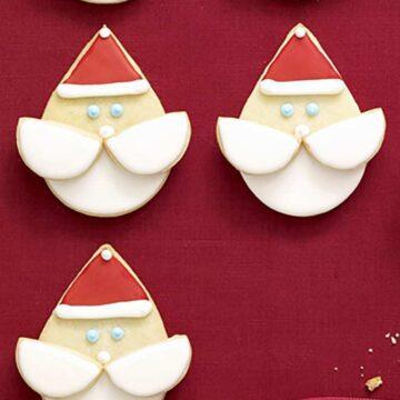 Close up recipe image of Santa Face Cookies