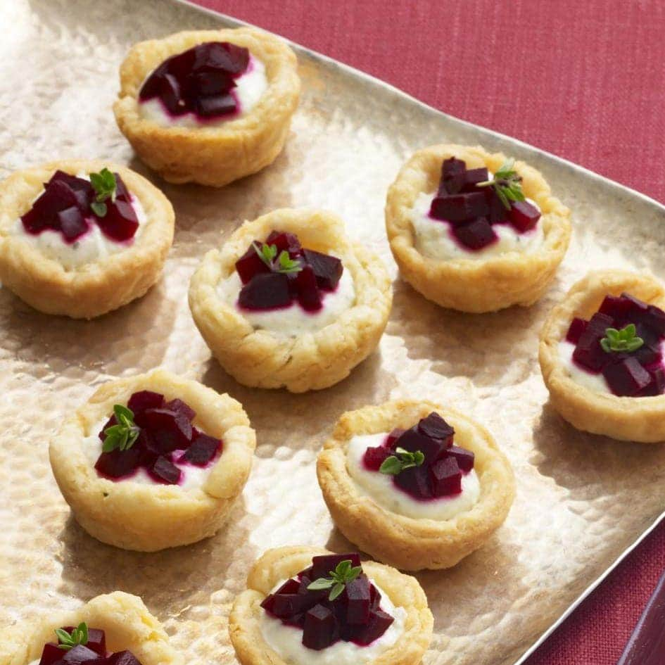 Beet and Farmer Cheese Tartlets in a homemade crust make a fancy party app