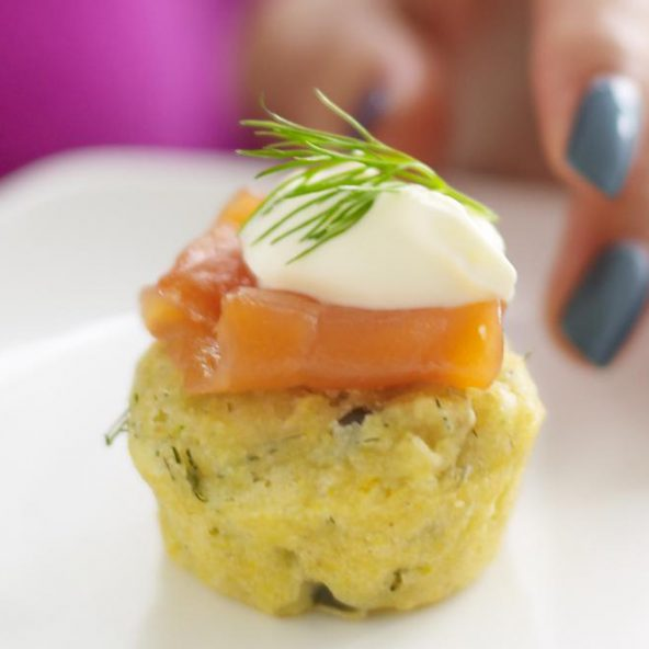 Caper Herb Corn Muffins with Smoked Salmon and creme fraiche close up recipe image