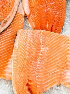 Salmon fillets on ice