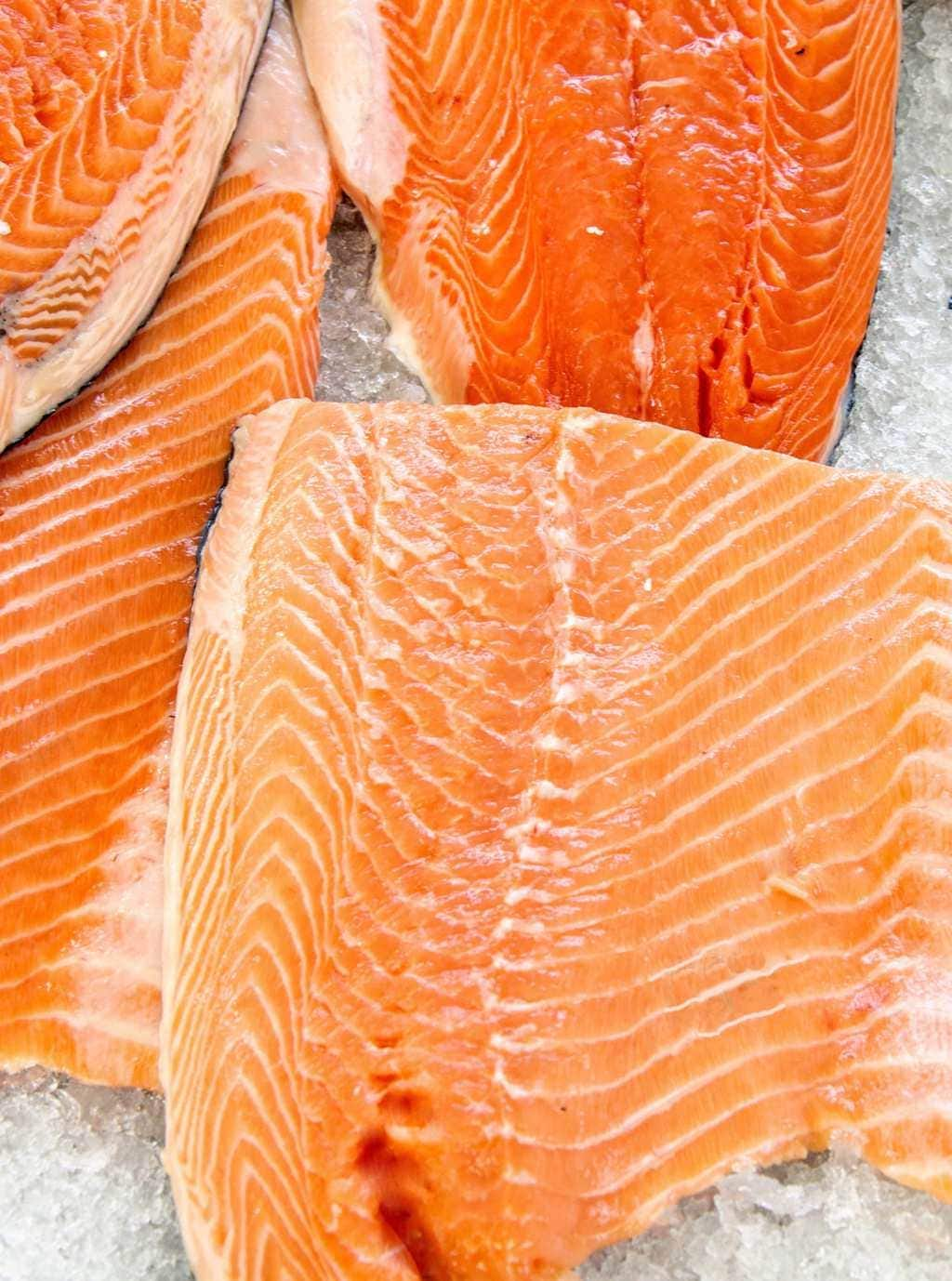 Uncooked salmon close crop