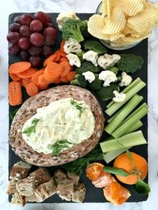 Cool vegan dill pickle dip in bread bowl recipe image