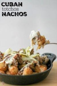 Cuban totchos Nachos recipe image with text