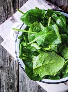 Fresh spinach for the Green Goddess Smoothie recipe