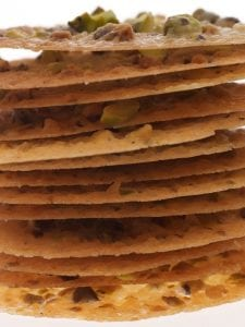 Stack of Pistachio lace cookies