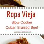 Pinterest image for Ropa Vieja Slow cooker Cuban braised beef stew