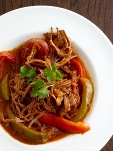 Ropa Vieja Cuban Beef Stew in white bowl