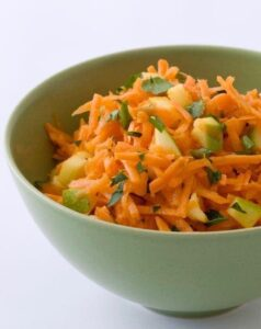 Shredded Carrot Salad recipe image in green bowl