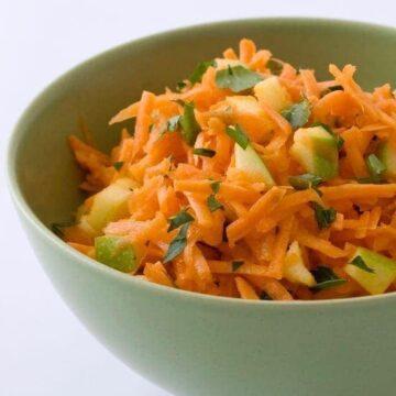 Shredded Carrot Salad recipe image in green bowl
