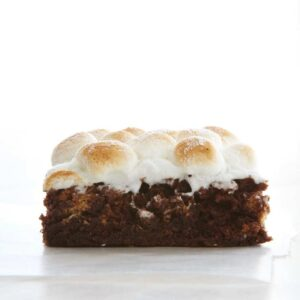 brownie with marshmallow top on white