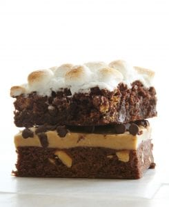 Various Brownie squares on white background