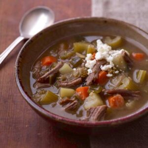 Mexican tomatillo and shredded beef soup